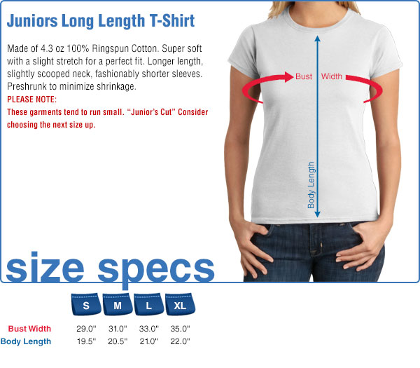 Juniors Long Length T-Shirt Size Specifications