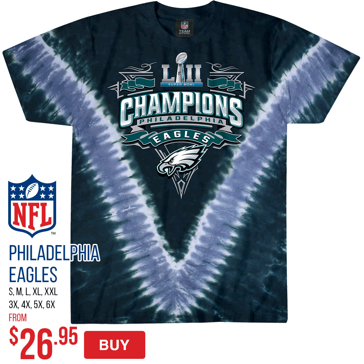 37a57700 Super Bowl LII Philadelphia Eagles Champions Tees! - Liquid Blue ...