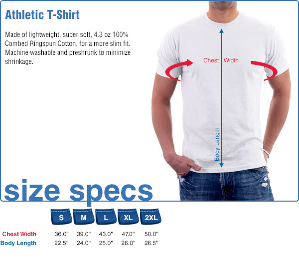 Athletic T-Shirt Size Specifications