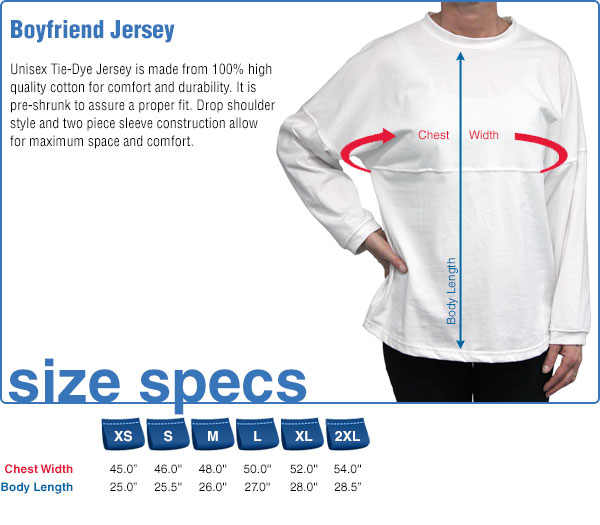 Boyfriend Jersey Size Specifications