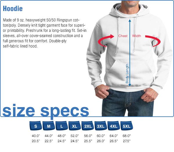 Hoodie Size Specifications