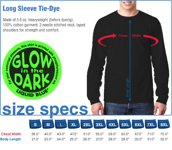 Long Sleeve Size Specifications