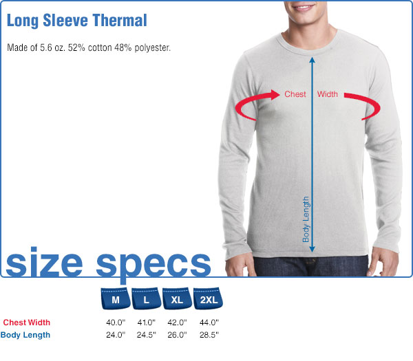 Long Sleeve Thermal Size Specifications