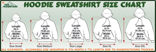Mountain Hoodie Size Specifications