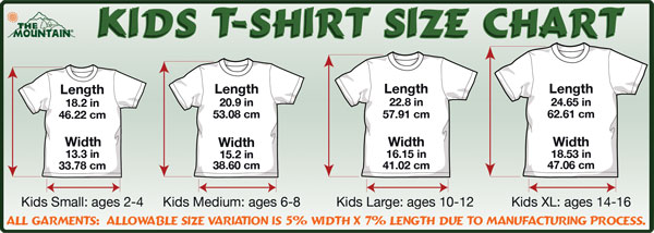 Mountain Youth Size Specifications