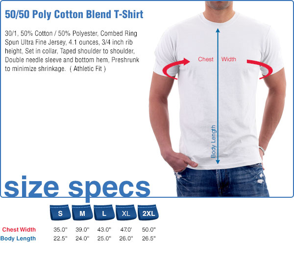 50/50 Poly Cotton Blend T-Shirt Size Specifications