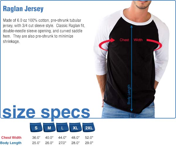 Raglan Jersey Size Specifications