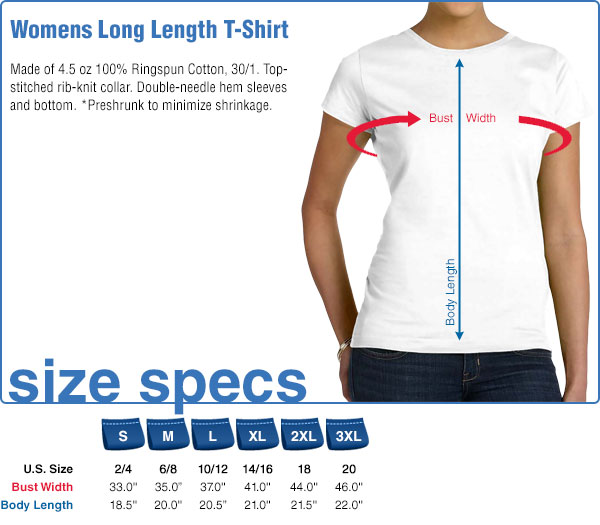 Womens Long Length T-Shirt Size Specifications