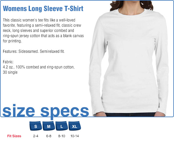 Womens Long Sleeve T-Shirt Size Specifications