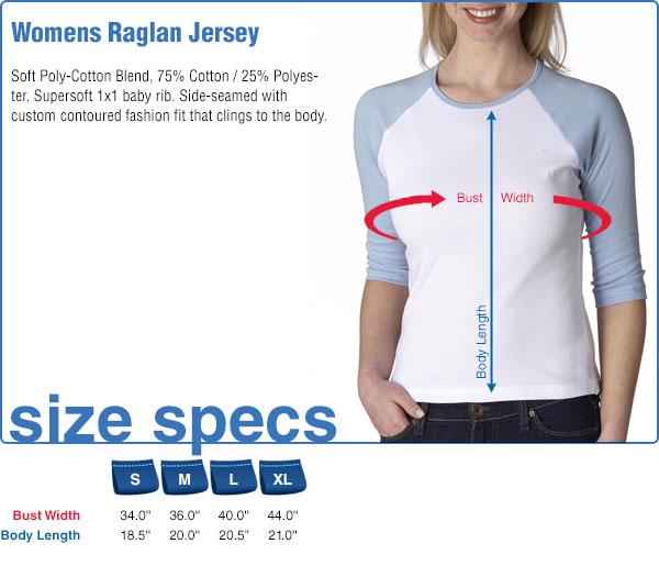 Womens Raglan Jersey Size Specifications